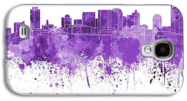 Nashville Skyline In Purple Watercolor On White Background Galaxy S4 Case by Pablo Romero