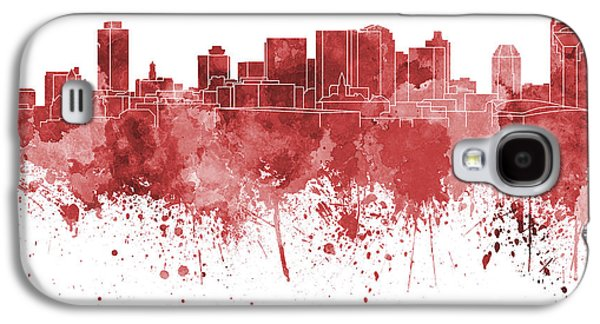 Nashville Tennessee Paintings Galaxy S4 Cases - Nashville skyline in red watercolor on white background Galaxy S4 Case by Pablo Romero