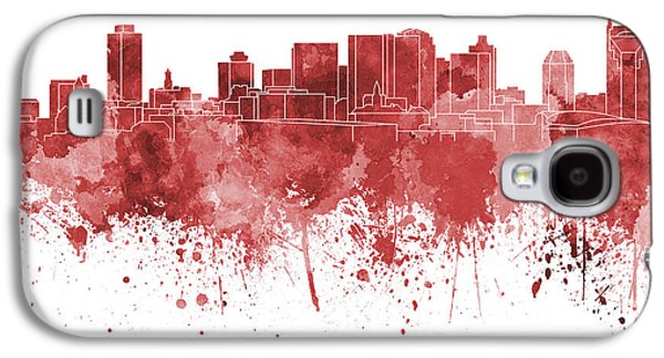 Nashville Skyline In Red Watercolor On White Background Galaxy S4 Case by Pablo Romero