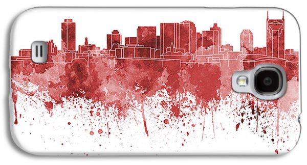 Nashville Paintings Galaxy S4 Cases - Nashville skyline in red watercolor on white background Galaxy S4 Case by Pablo Romero