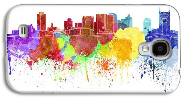 Nashville Paintings Galaxy S4 Cases - Nashville skyline in watercolor on white background Galaxy S4 Case by Pablo Romero
