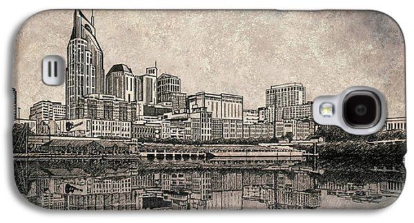 Best Sellers -  - Janet King Galaxy S4 Cases - Nashville Skyline Mixed Media painting  Galaxy S4 Case by Janet King