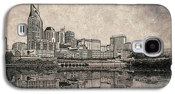 Nashville Skyline Mixed Media Painting  Galaxy S4 Case by Janet King