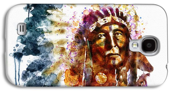 """""""square """" Mixed Media Galaxy S4 Cases - Native American Chief Galaxy S4 Case by Marian Voicu"""