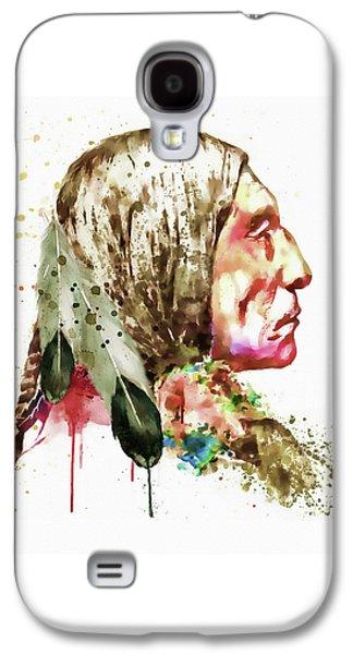 Modern Digital Digital Digital Galaxy S4 Cases - Native American Side Face Galaxy S4 Case by Marian Voicu