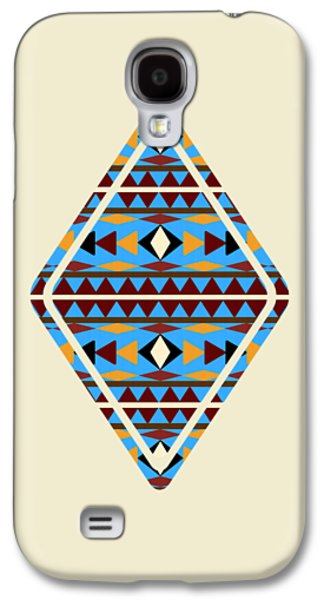 Patterned Mixed Media Galaxy S4 Cases - Navajo Blue Pattern Aged Galaxy S4 Case by Christina Rollo