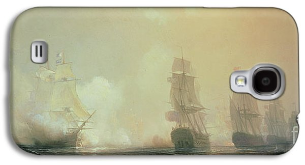 Historic Ship Galaxy S4 Cases - Naval Battle in Chesapeake Bay Galaxy S4 Case by Jean Antoine Theodore Gudin