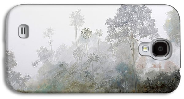 Mist Paintings Galaxy S4 Cases - Nebbia Nella Foresta Galaxy S4 Case by Guido Borelli