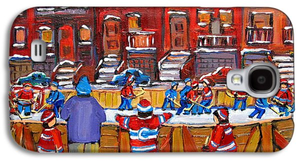 Streethockey Paintings Galaxy S4 Cases - Neighborhood  Hockey Rink Galaxy S4 Case by Carole Spandau