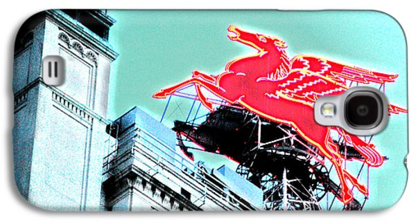 Neon Pegasus Atop Magnolia Building In Dallas Texas Galaxy S4 Case by Shawn O'Brien