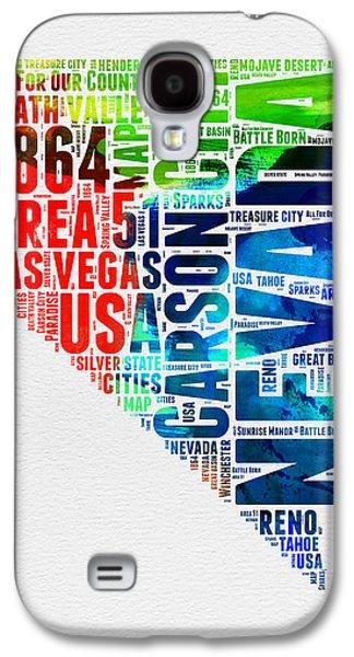 Las Vegas Art Galaxy S4 Cases - Nevada Watercolor Word Cloud  Galaxy S4 Case by Naxart Studio