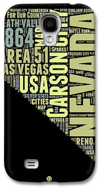 Las Vegas Art Galaxy S4 Cases - Nevada Word Cloud 1 Galaxy S4 Case by Naxart Studio