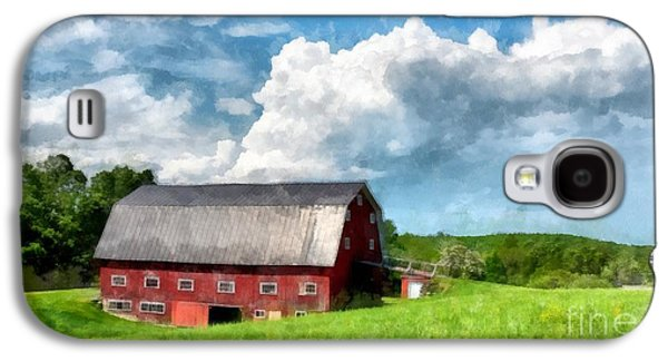 Maine Farms Galaxy S4 Cases - New England Farm Landscape Watercolor Galaxy S4 Case by Edward Fielding