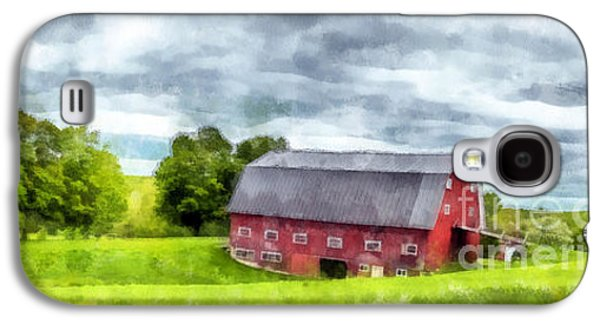 New England Barns Galaxy S4 Cases - New Hampshire Landscape Red Barn Etna Galaxy S4 Case by Edward Fielding