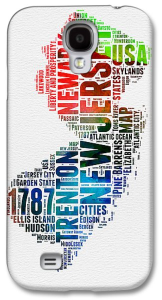 4th Of July Mixed Media Galaxy S4 Cases - New Jersey Watercolor Word Cloud  Galaxy S4 Case by Naxart Studio