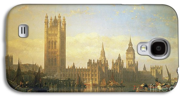 New Palace Of Westminster From The River Thames Galaxy S4 Case by David Roberts