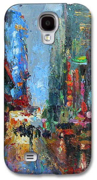 Street Drawings Galaxy S4 Cases - New York city 42nd street painting Galaxy S4 Case by Svetlana Novikova