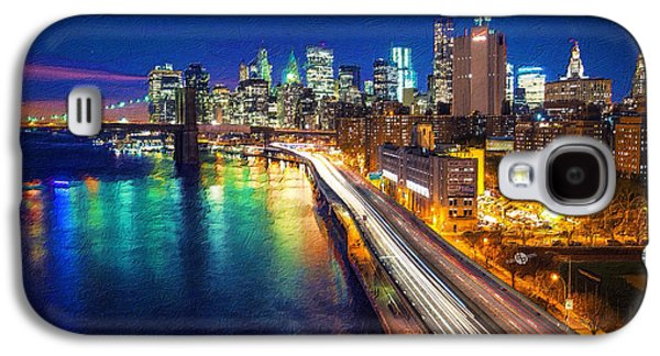 Abstract Digital Paintings Galaxy S4 Cases - New York City Lights Blue Galaxy S4 Case by Tony Rubino