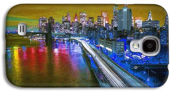 Abstract Digital Paintings Galaxy S4 Cases - New York City Lights Gold Galaxy S4 Case by Tony Rubino