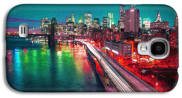 Abstract Digital Paintings Galaxy S4 Cases - New York City Lights Red Galaxy S4 Case by Tony Rubino