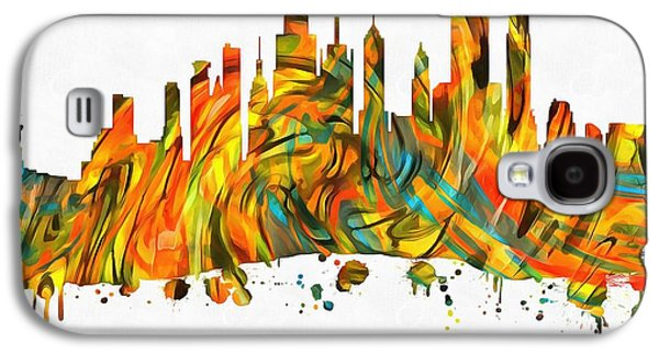 Skylines Mixed Media Galaxy S4 Cases - New York City Skyline Paint Splatter Galaxy S4 Case by Dan Sproul