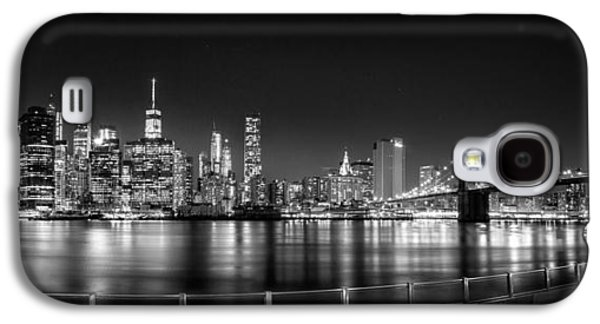 Trade Galaxy S4 Cases - New York City Skyline Panorama At Night BW Galaxy S4 Case by Az Jackson