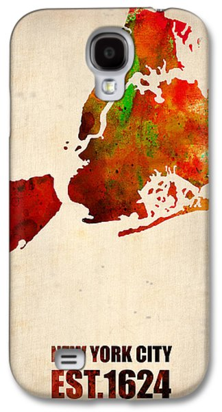New York Digital Galaxy S4 Cases - New York City Watercolor Map 2 Galaxy S4 Case by Naxart Studio