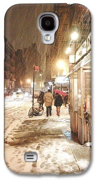 Winter Night Galaxy S4 Cases - New York City - Winter Night - Snow in the City Galaxy S4 Case by Vivienne Gucwa