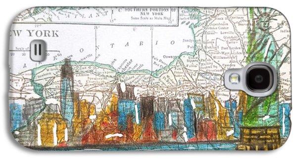 New York Cityscape Map Galaxy S4 Case by Scott D Van Osdol