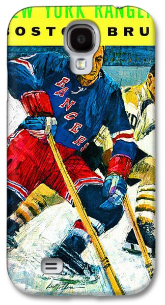 New York Rangers V Boston Bruins Vintage Program Galaxy S4 Case by Big 88 Artworks
