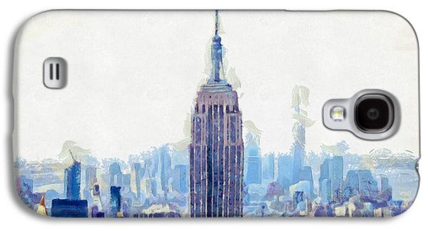 New York Skyline Art- Mixed Media Painting Galaxy S4 Case by Wall Art Prints