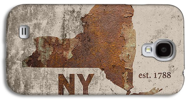 Industrial Mixed Media Galaxy S4 Cases - New York State Map Industrial Rusted Metal on Cement Wall with Founding Date Series 001 Galaxy S4 Case by Design Turnpike
