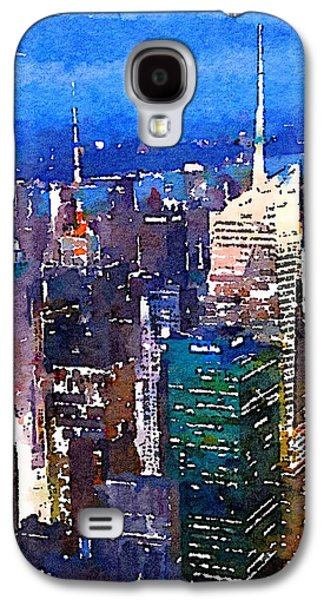 Times Square Digital Galaxy S4 Cases - New York Time Square - watercolor Galaxy S4 Case by Marianna Mills