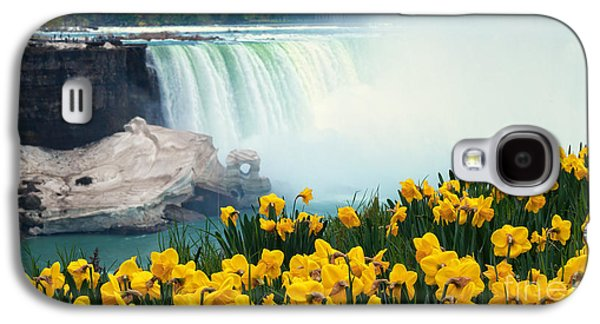 Recently Sold -  - Landmarks Photographs Galaxy S4 Cases - Niagara Falls Spring Flowers and Melting Ice Galaxy S4 Case by Charline Xia