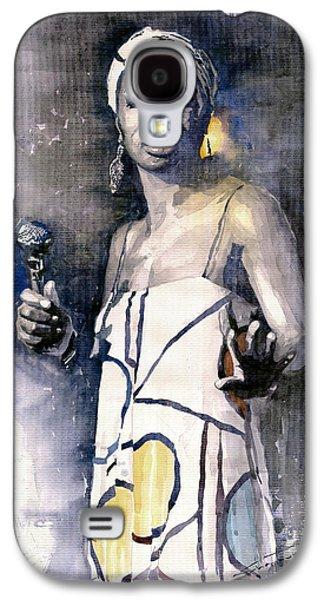 Watercolor Paintings Galaxy S4 Cases - Nina Simone Galaxy S4 Case by Yuriy  Shevchuk