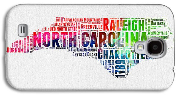 North Carolina Watercolor Word Cloud Map Galaxy S4 Case by Naxart Studio