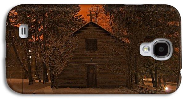Notre Dame Log Chapel Winter Night Galaxy S4 Case by John Stephens
