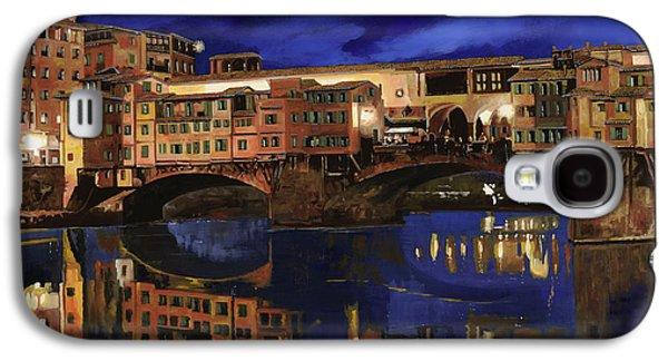 Night Paintings Galaxy S4 Cases - Notturno Fiorentino Galaxy S4 Case by Guido Borelli