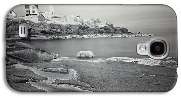 Cape Neddick Lighthouse Galaxy S4 Cases - Nubble Light Black and White Galaxy S4 Case by Luke Moore