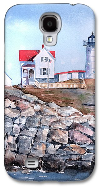 Maine Landscapes Paintings Galaxy S4 Cases - Nubble Lighthouse - Maine Galaxy S4 Case by Arline Wagner