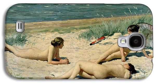 Beach Towel Galaxy S4 Cases - Nude bathers on the beach Galaxy S4 Case by Paul Fischer