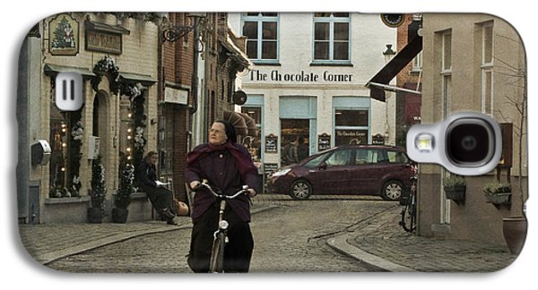 Ancient Galaxy S4 Cases - Nun on a Bicycle in Bruges Galaxy S4 Case by Joan Carroll