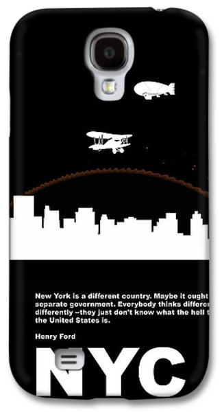 Old Man Digital Art Galaxy S4 Cases - NYC Night Poster Galaxy S4 Case by Naxart Studio