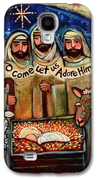 Christ Child Galaxy S4 Cases - O Come Let Us Adore Him Shepherds Galaxy S4 Case by Jen Norton