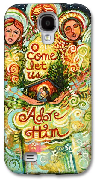 O Come Let Us Adore Him With Angels Galaxy S4 Case by Jen Norton