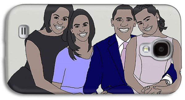 First Lady Drawings Galaxy S4 Cases - Obama Family Neutral Background Galaxy S4 Case by Priscilla Wolfe