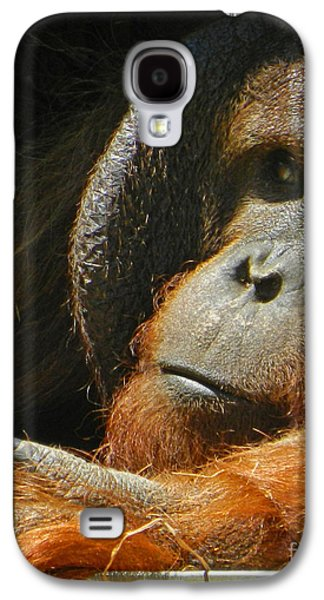 Orangutan Digital Galaxy S4 Cases - Observing From A Distance Galaxy S4 Case by Emmy Marie Vickers