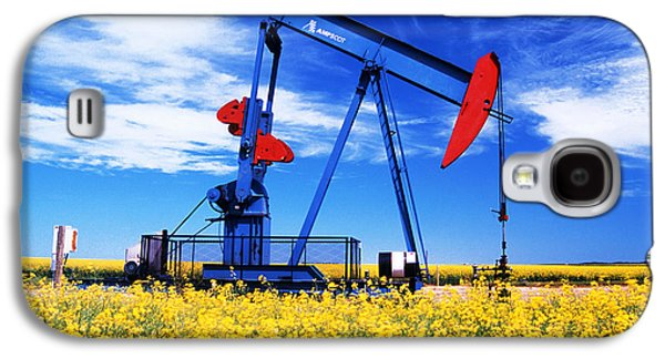 Colour Image Photographs Galaxy S4 Cases - Oil Pumpjack And Canola Field, Arcola Galaxy S4 Case by Dave Reede