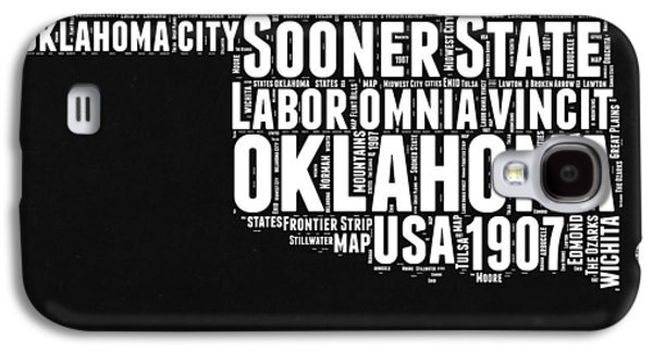 Oklahoma Black And White Map Galaxy S4 Case by Naxart Studio