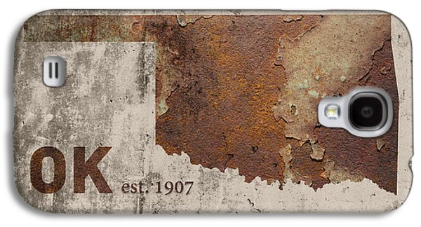 Industrial Mixed Media Galaxy S4 Cases - Oklahoma State Map Industrial Rusted Metal on Cement Wall with Founding Date Series 003 Galaxy S4 Case by Design Turnpike